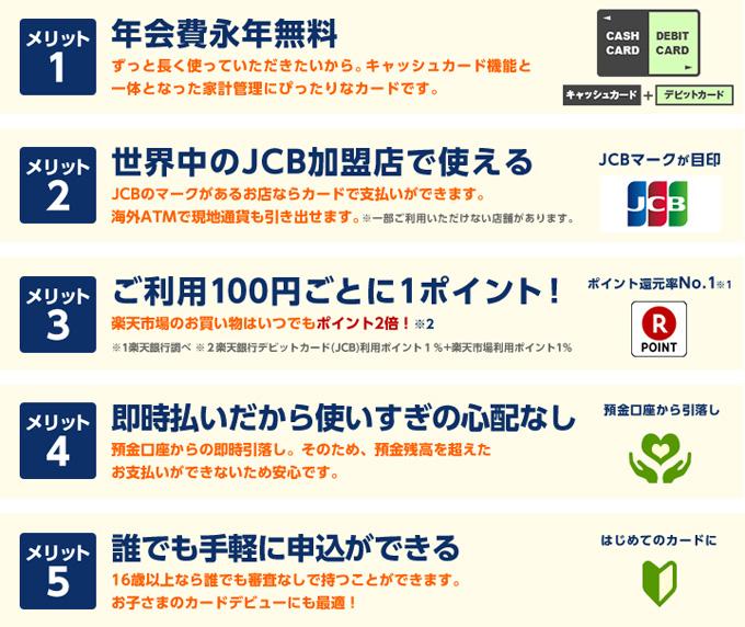 楽天銀行デビットカード(JCB)メリット
