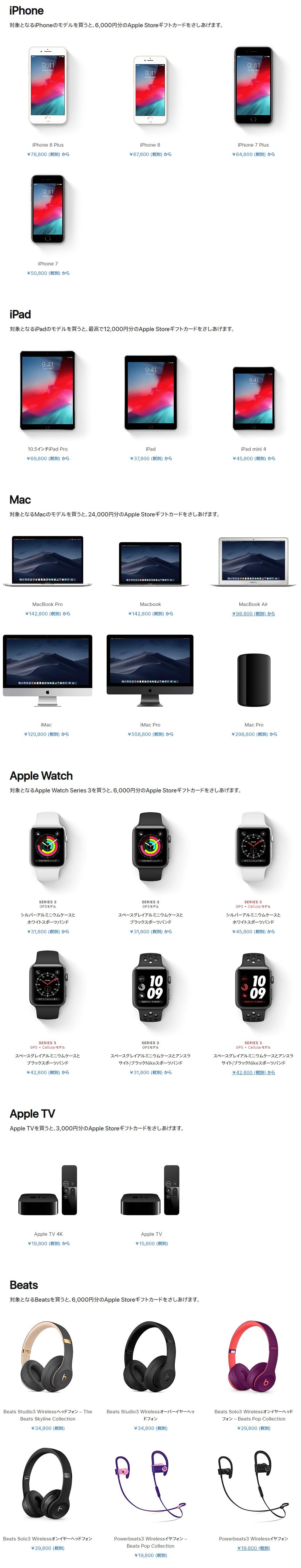 2019年Apple初売り対象商品